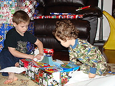 opening presents Christmas day