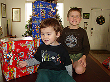 The boys with the presents they chose