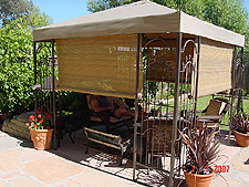 Gazebo with sun shades