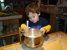 Ryder getting the icing ready to mix.