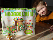Hunter ready to build a gingerbread train.