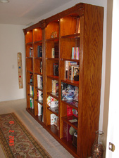 New bookshelves in hallway.