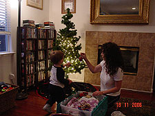 Heidi and Hunter working on the tree.