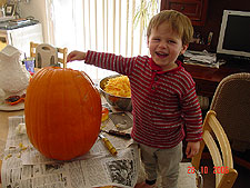 Hunter excited about his pumpkin.