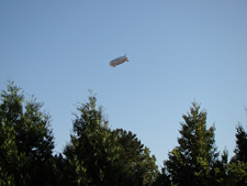 A blimp in the backyard.