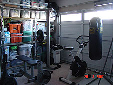 Gym area in garage